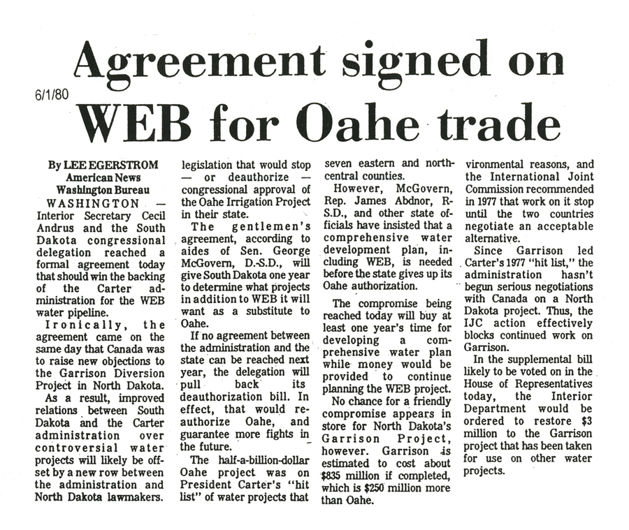 Web for Oahe trade gains traction