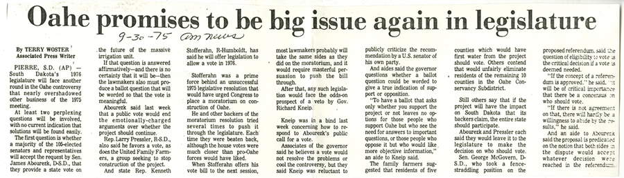 Oahe dominates 1976 legislature