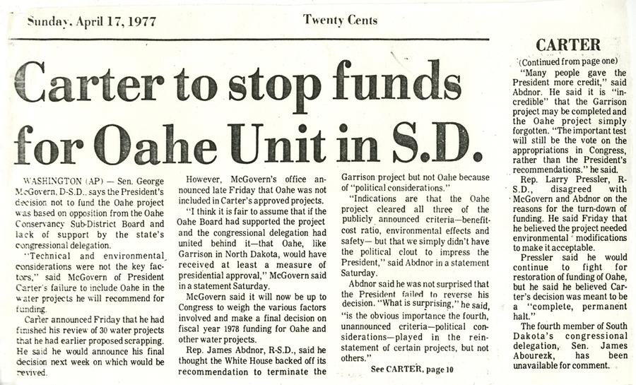 President Carter opposes Oahe