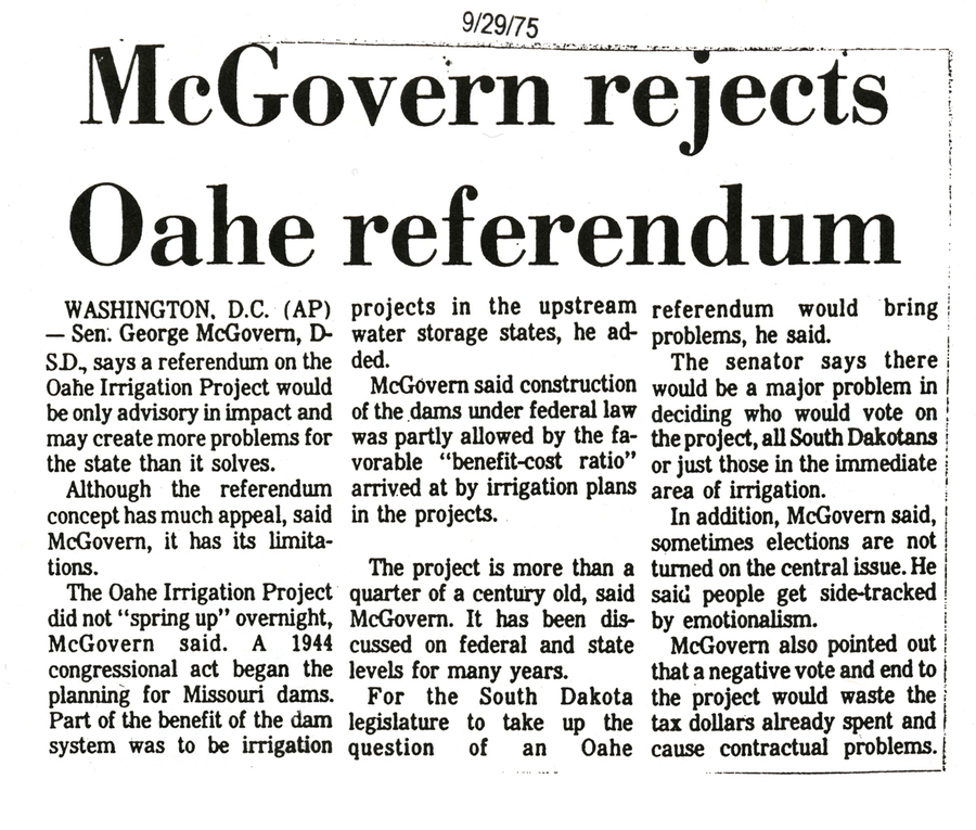 McGovern rejects Oahe referendum