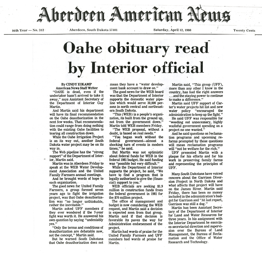 White House official proposes Oahe solution