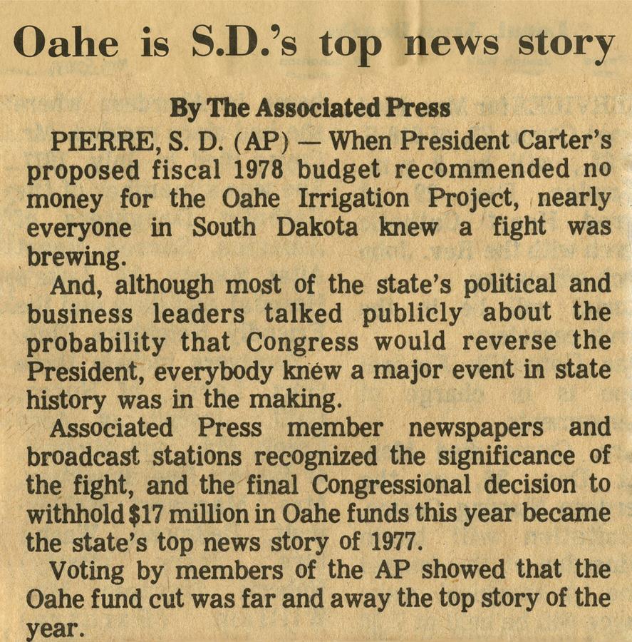 Oahe tops 1977 news