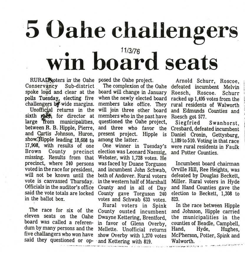 5 Oahe challengers win board seats