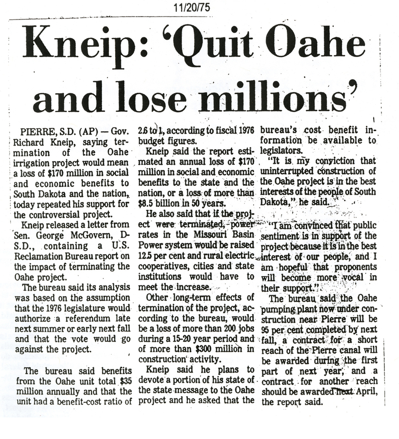 Kneip: 'Quit Oahe and lose millions'