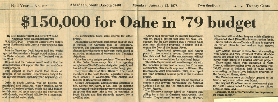 Little funding for Oahe