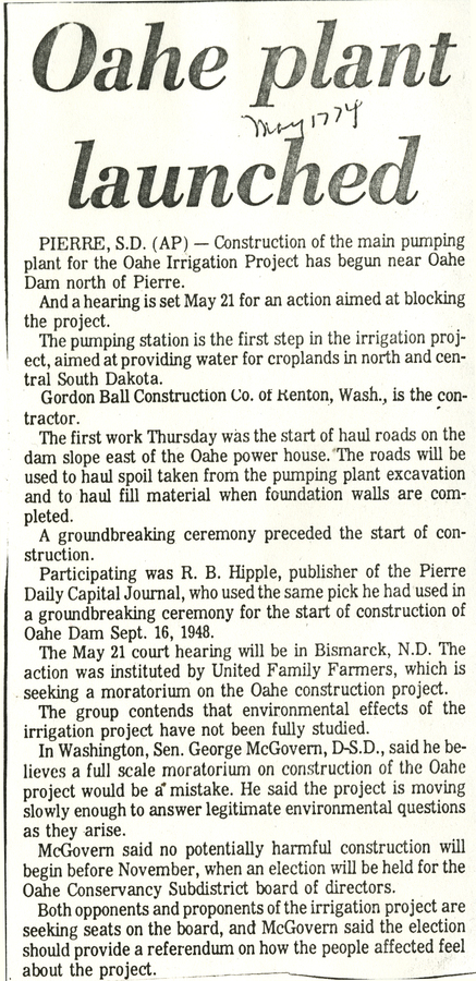 Oahe pump plant construction begins